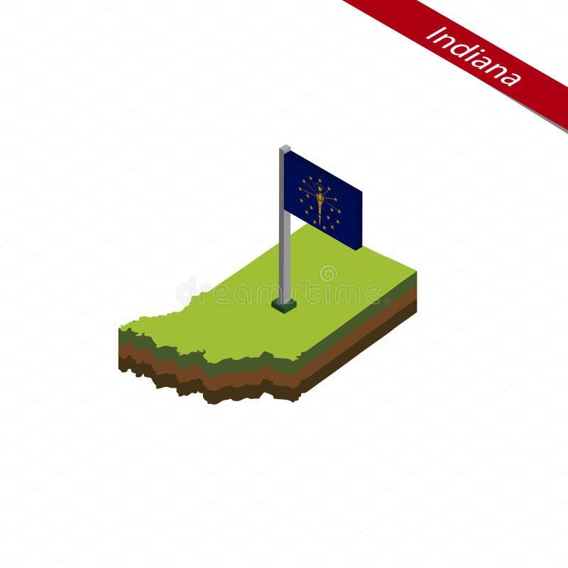 Indiana Isometric-Karte und -flagge Auch im corel abgehobenen Betrag stock abbildung
