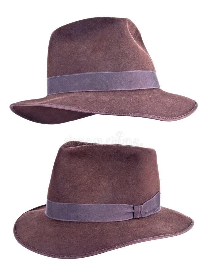 Indiana Jones Style Felt Fedora Hat Isolated. Indiana Jones style felt brown fedora hat. Isolated on white stock image