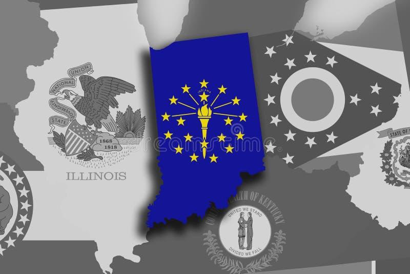 Indiana-Karte und -flagge stock abbildung