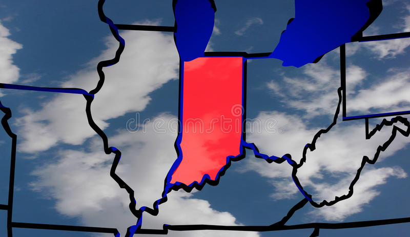 Indiana IN Klimawandel Wetter USA-Karten-Vereinigter Staaten Amerika stock abbildung