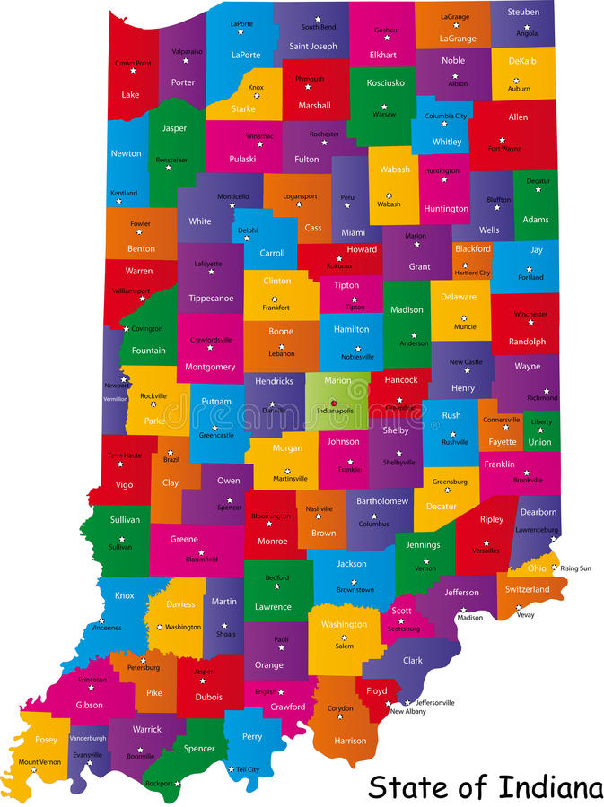Indiana map. Colorful illustrated design of the map of Indiana (USA), including counties and county seats. Isolated against a white background