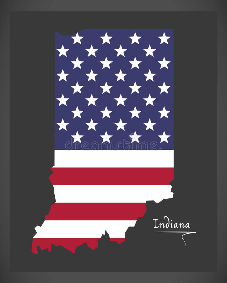 Indiana map with American national flag illustration vector illustration