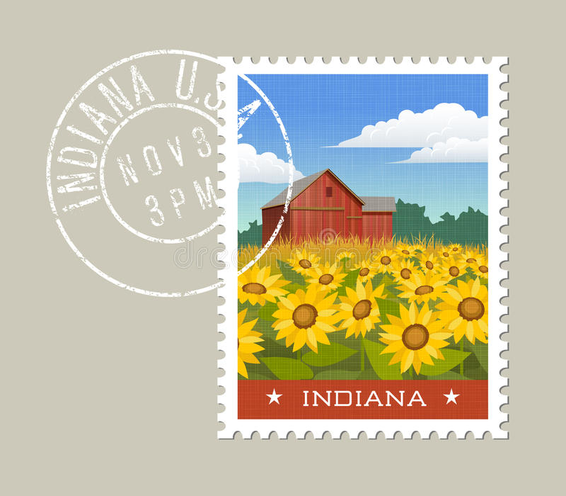 Indiana postage stamp design. Red barn with sunflowers vector illustration