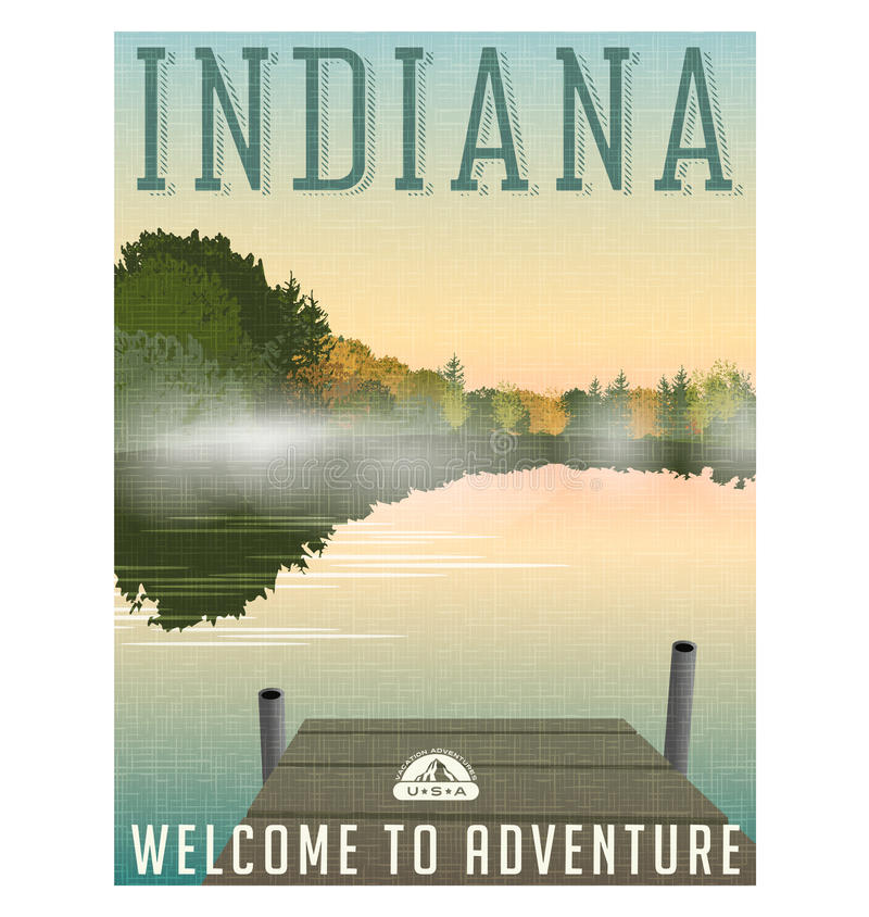 Indiana-Reiseplakat oder -aufkleber vektor abbildung