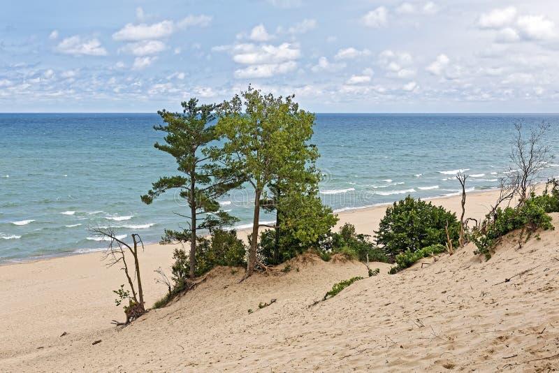 Indiana Sand Dunes on Lake Michigan`s Shoreline. Indiana Dunes National Lakeshore is a National Park on Lake Michigan`s south shore. The sand dunes make this royalty free stock photos