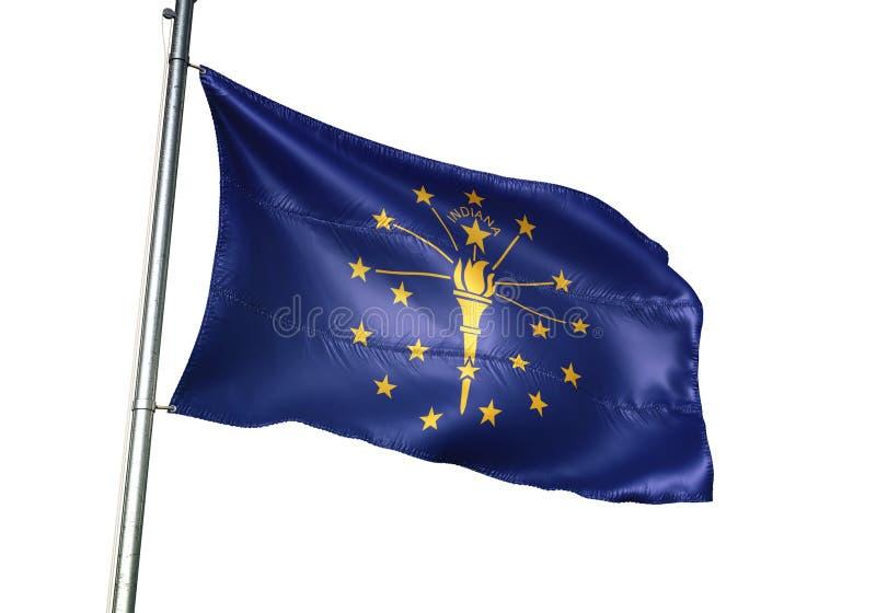 Indiana-Staat von fahnenschwenkendem Vereinigter Staaten lokalisiert auf realistischer Illustration 3d des weißen Hintergrundes lizenzfreie abbildung