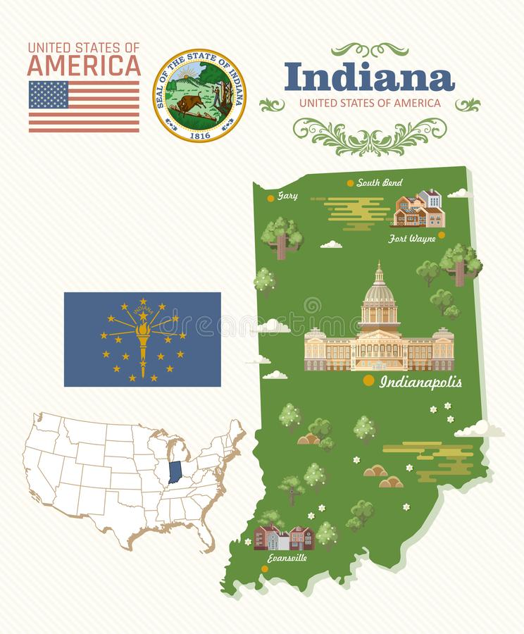 Indiana State översikt Amerika tillstånd förenade Vykort från Indianapolis Loppvektor stock illustrationer
