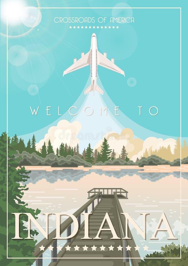 Indiana State Gli Stati Uniti d'America Strade trasversali dell'America Cartolina da Indianapolis Vettore di viaggio illustrazione di stock