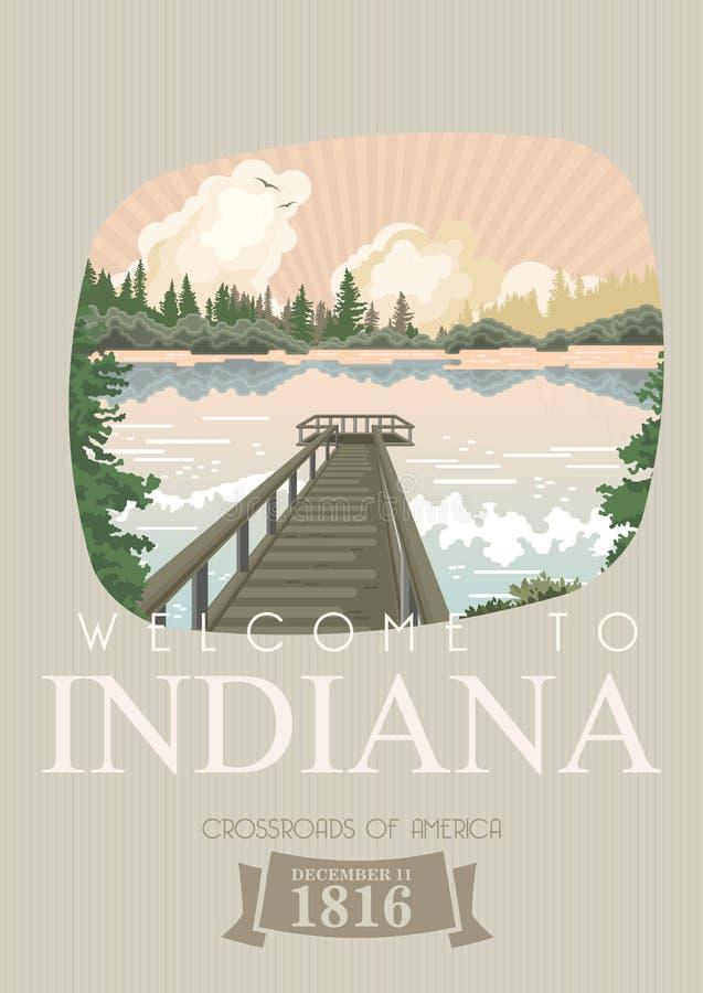 Indiana State Hoostertillståndet Amerika tillstånd förenade Tvärgator av Amerika Vykort från Indianapolis Loppvektor vektor illustrationer