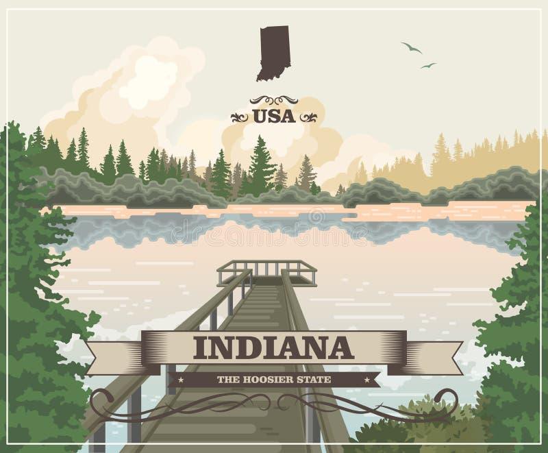 Indiana State Lo stato del hooster Gli Stati Uniti d'America Cartolina da Indianapolis Vettore di viaggio illustrazione di stock