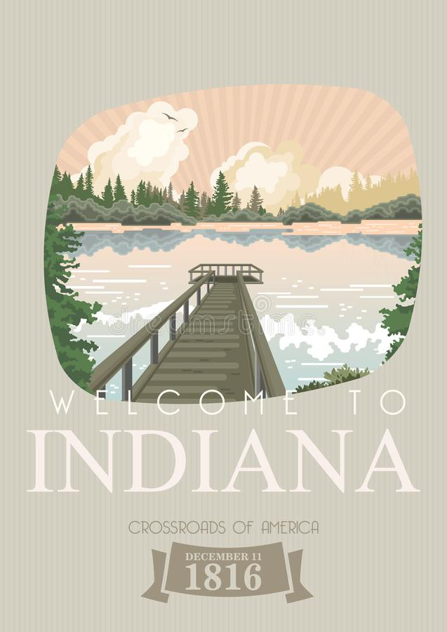 Indiana State Lo stato del hooster Gli Stati Uniti d'America Strade trasversali dell'America Cartolina da Indianapolis Vettore di illustrazione vettoriale