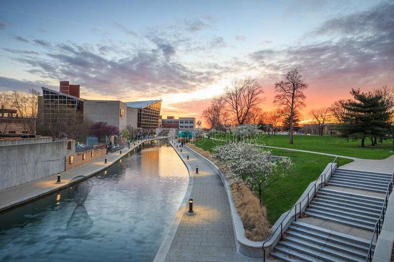 Indiana State Museum at sunset. INDIANAPOLIS, INDIANA, April 14, 2015: Indiana State Museum that houses exhibits of science, art, culture and history of Indiana stock photo