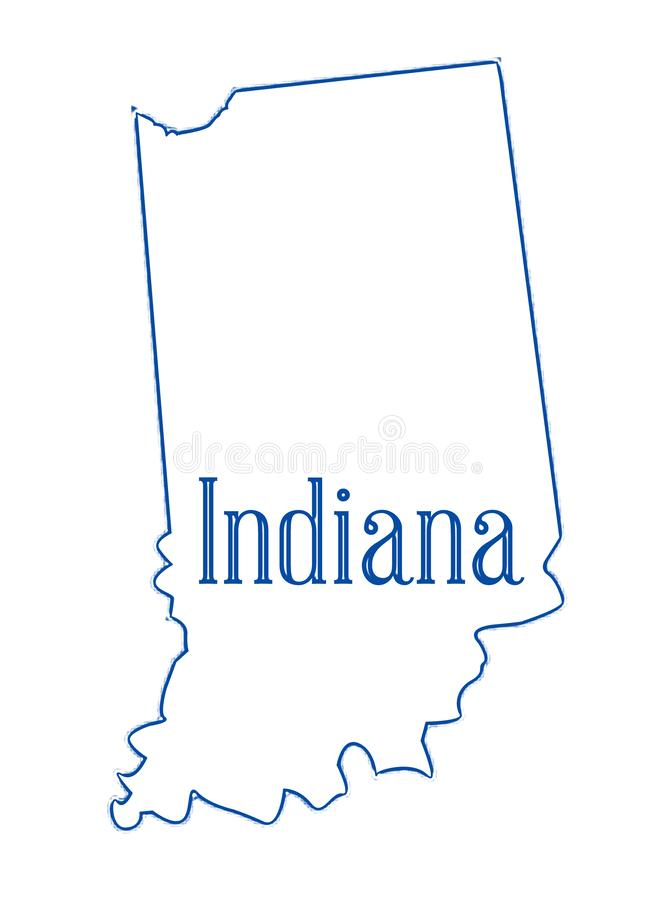 Indiana State Outline Map royalty illustrazione gratis