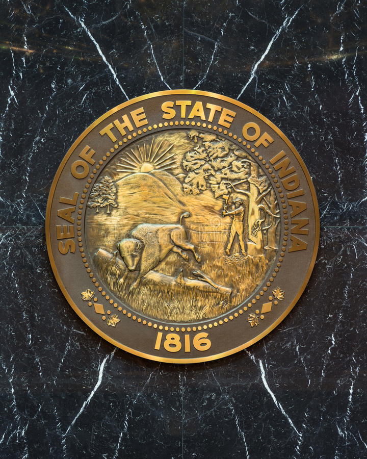 Indiana State Seal. State seal on the wall of the House of Representatives chamber in the Indiana State Capitol building in Indianapolis, Indiana stock images
