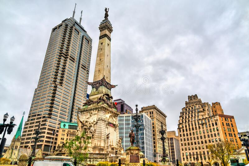 Soldiers and Sailors Monument in Indianapolis - Indiana, United States. The Indiana State Soldiers and Sailors Monument in Indianapolis, the United States stock image