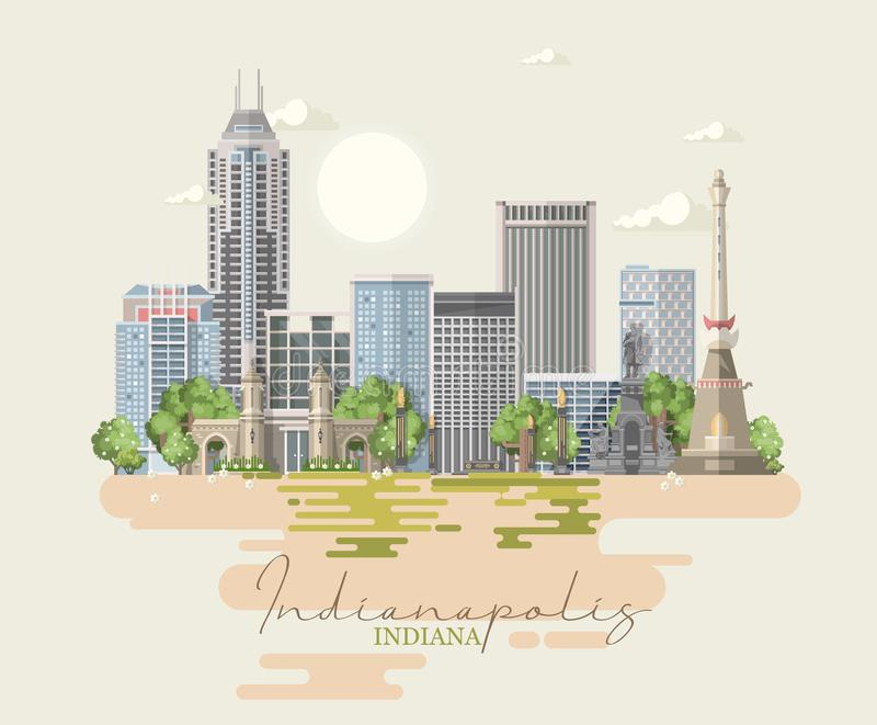 Indiana State Staaten von Amerika Postkarte von Indianapolis Reisevektor stock abbildung