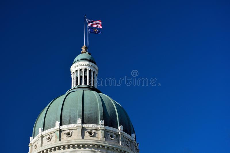 Indiana Statehouse Capitol Building Dome on a Sunny Day stock images