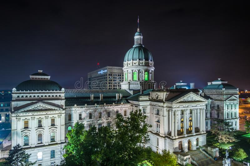 The Indiana Statehouse at night in Indianapolis, Indiana.  royalty free stock photos