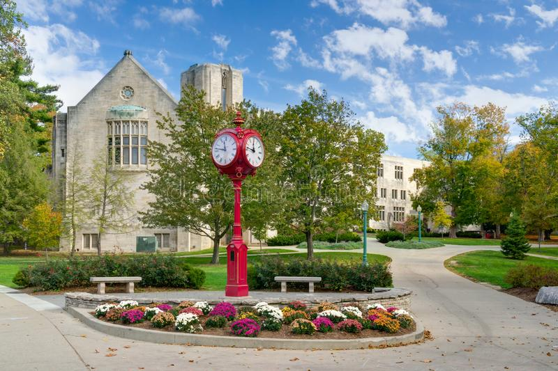 Indiana University Landmark Campus Clock stockbild