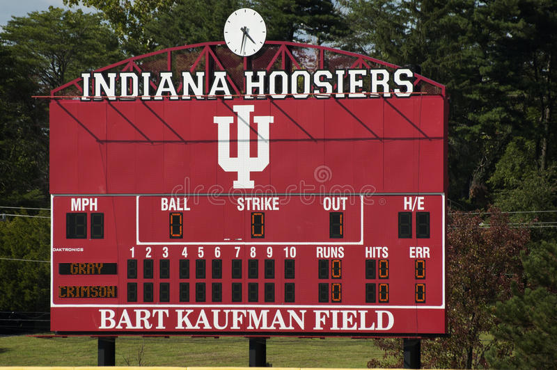 Indiana uniwersyteta baseballa pola stara tablica wyników zdjęcia stock