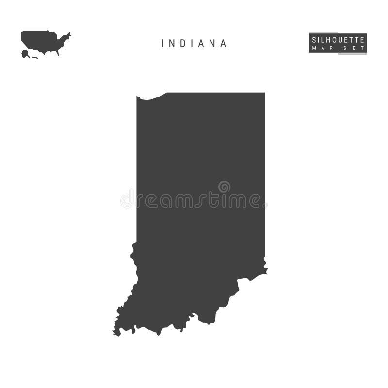 Indiana USA påstår vektoröversikten som isoleras på vit bakgrund Hög-specificerad svart konturöversikt av Indiana stock illustrationer