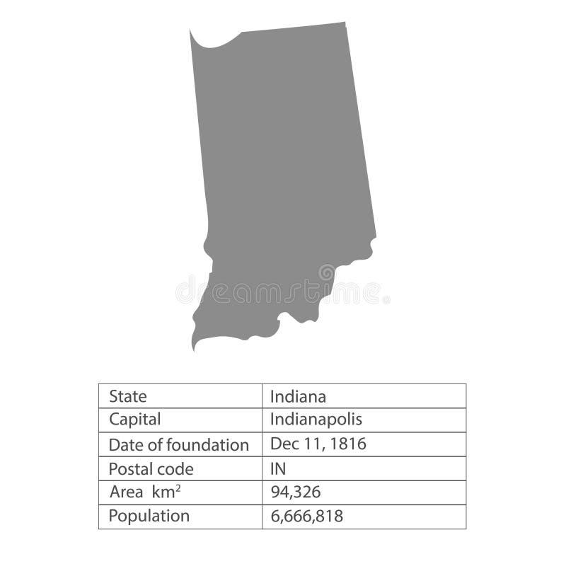 indiana Zustände von Amerika-Gebiet auf weißem Hintergrund Unterschiedlicher Zustand Auch im corel abgehobenen Betrag lizenzfreie abbildung