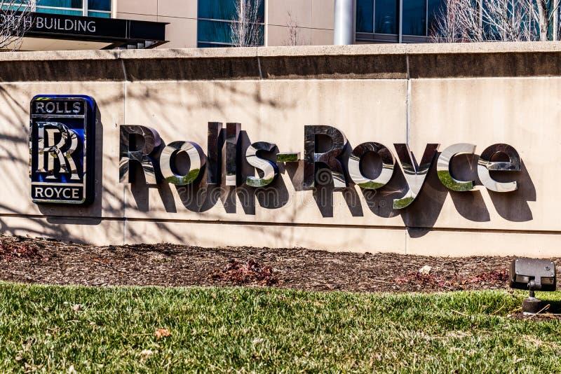 Indianapolis - cerca do março de 2018: O espaço aéreo Jet Turbine Plant de Rolls royce Mais produtos de Rolls royce são construíd fotos de stock