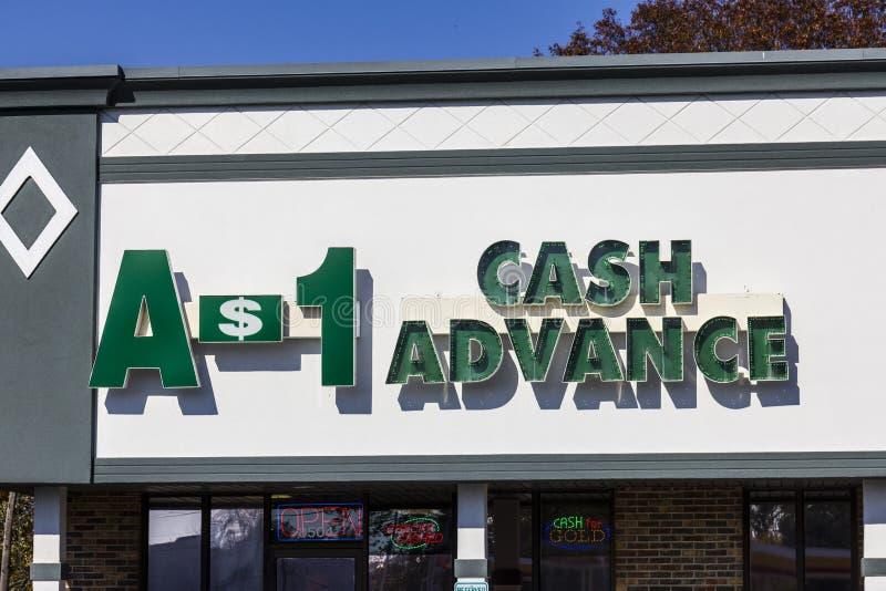 Indianapolis - cerca do novembro de 2016: Lugar da alameda do dinheiro adiantado A-1 O dinheiro adiantado A-1 é uma empresa de em fotos de stock royalty free