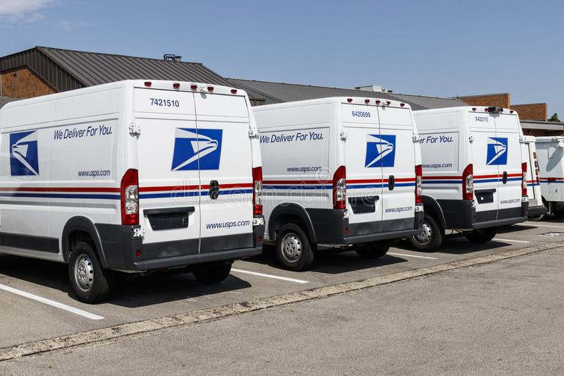USPS Post Office Mail Trucks. The Post Office is responsible for providing mail delivery VI. Indianapolis - Circa August 2019: USPS Post Office Mail Trucks. The stock images
