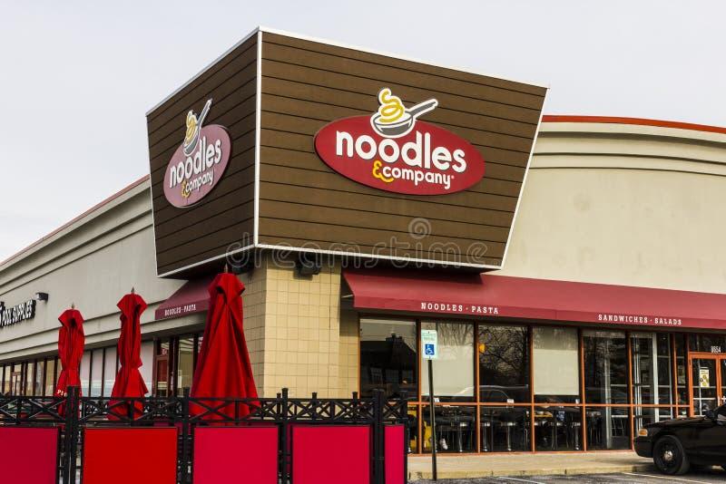 Indianapolis - Circa December 2016: Noedels & Bedrijf snel toevallig restaurant Noedels & van Bedrijfaanbiedingen Amerikaanse noe stock afbeelding