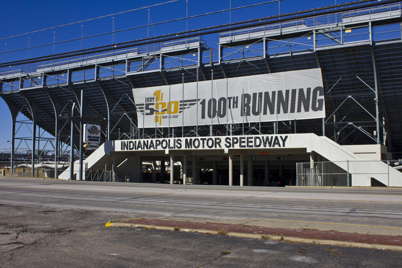 Indianapolis - Circa Februari 2016: Indianapolis Motor Speedway II royaltyfri foto