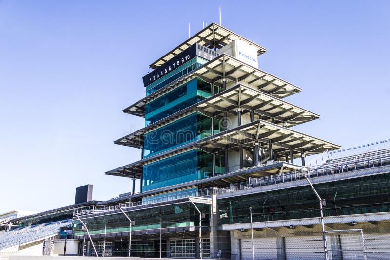 Indianapolis - circa im Februar 2017: Die Panasonic-Pagode in Indianapolis Motor Speedway IX stockbild