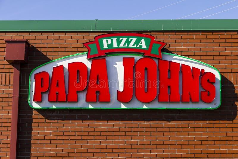 Indianapolis - circa im Februar 2017: Papa John-` s zum Mitnehmen Pizza-Restaurant IV lizenzfreie stockfotografie