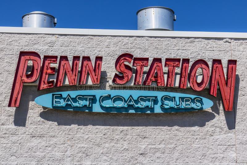 Indianapolis - circa im Juli 2017: Penn Station Fast Food Sub-Sandwich-Restaurant Penn Station hat über 300 relativen Satznummern stockfotografie