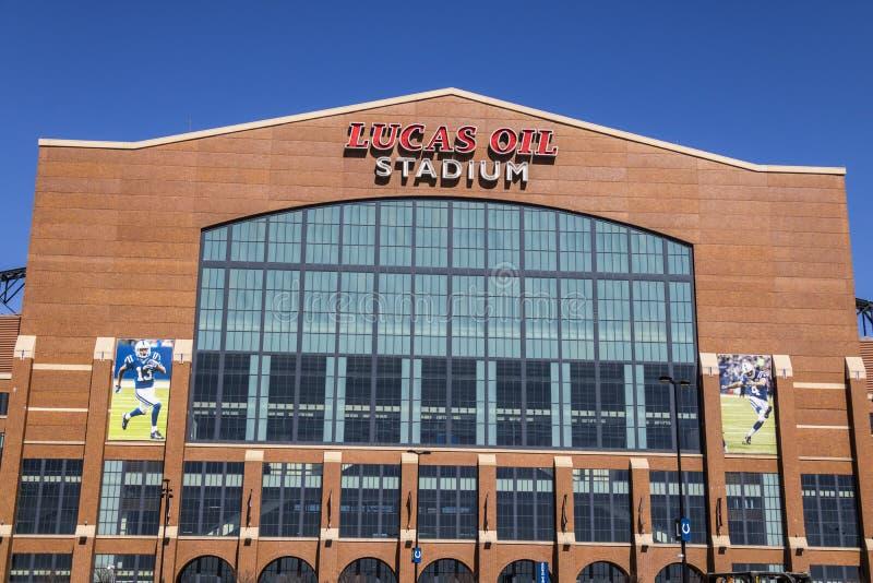 Indianapolis - circa im März 2017: Lucas Oil Stadium Lucas Oil ist ein Sponsor der Indianapolis Colts III stockfotos
