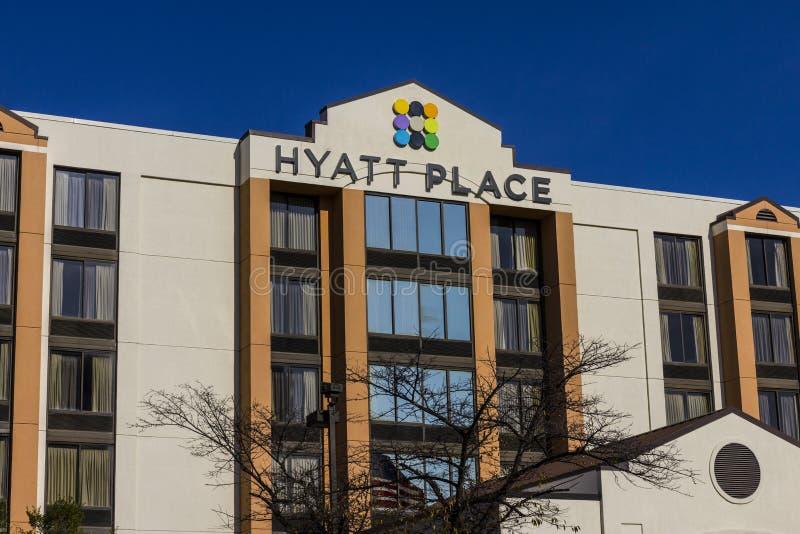 Indianapolis - circa im November 2016: Hyatt-Platz-Geschäfts-Hotel Hyatt-Eigenschaften umfassen Hotels und Ferienorte II lizenzfreies stockbild