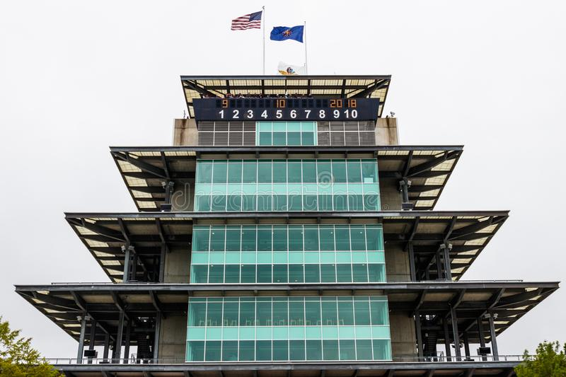 Indianapolis - circa im September 2018: Die Pagode in Indianapolis Motor Speedway stockfoto