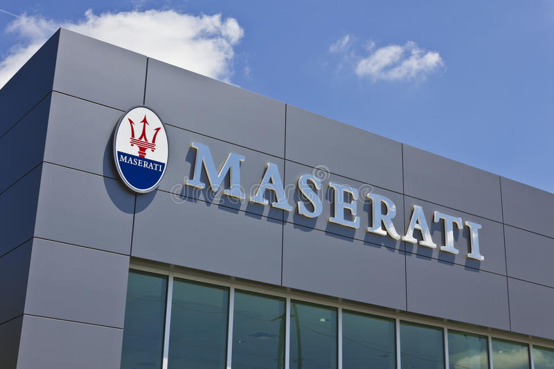 Indianapolis - Circa July 2016: Maserati Dealership Signage. Maserati is a Luxury Car Manufacturer Based in Italy II stock photography