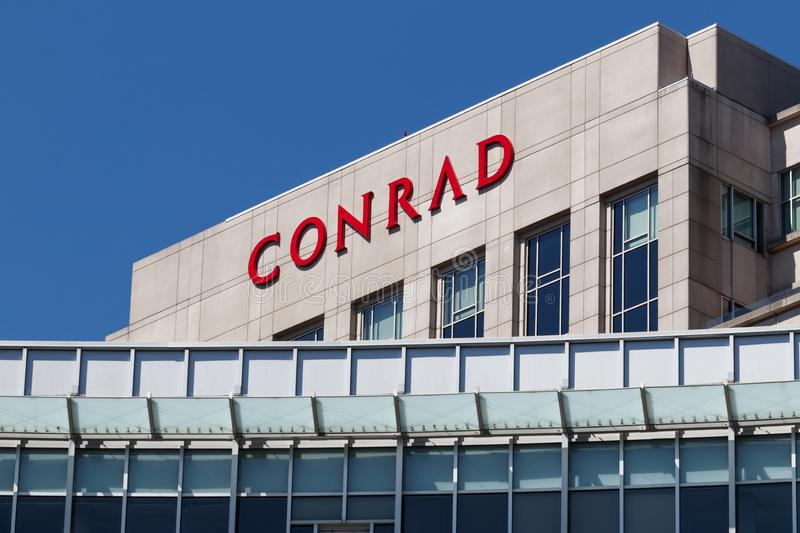Downtown Conrad Hotel Location. The Conrad is the luxury hotel brand owned by Hilton Worldwide I stock images