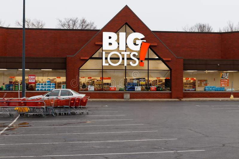 Big Lots Retail Discount Location. Big Lots is a Discount Chain Selling Food, Furniture and Housewares I. Indianapolis - Circa: March 2019: Big Lots Retail royalty free stock image