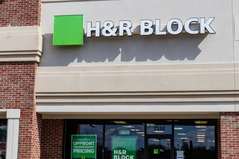 Indianapolis - Circa March 2019: H&R Block Retail Tax Preparation Location. Block Operates 12,000 Locations I royalty free stock images