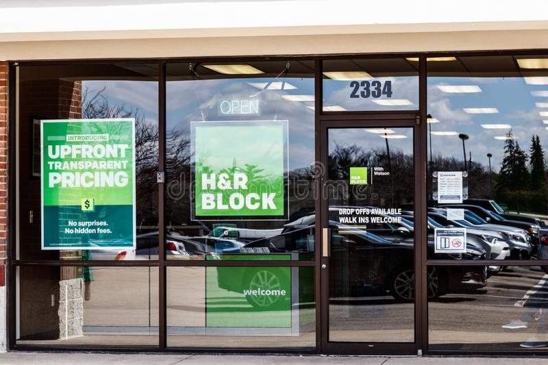 Indianapolis - Circa March 2019: H&R Block Retail Tax Preparation Location. Block Operates 12,000 Locations II royalty free stock photo