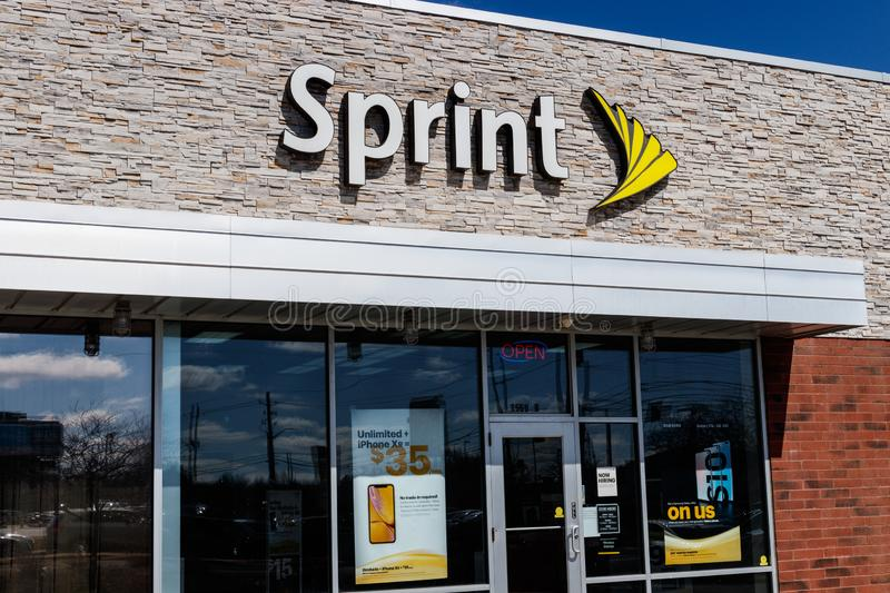 Indianapolis - Circa March 2019: Sprint Retail Wireless Store. Sprint is a Subsidiary of Japan`s SoftBank Group Corporation II. Sprint Retail Wireless Store royalty free stock photo