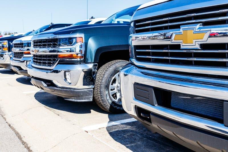 Indianapolis - circa marzo 2018: Camion di Chevrolet a Chevy Dealership Chevrolet è una divisione di General Motors V immagine stock libera da diritti