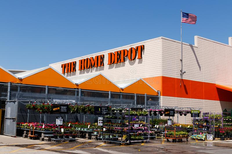Indianapolis - Circa May 2018: Home Depot Location flying the American flag. Home Depot is the Largest Home Improvement Retailer I. Home Depot Location flying royalty free stock image