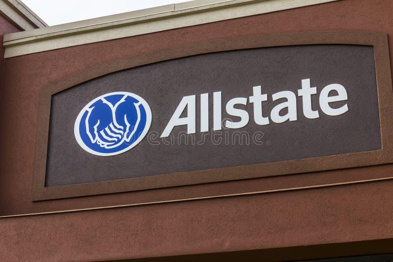 Indianapolis - Circa Oktober 2016: Embleem en Signage I van de Allstateverzekering royalty-vrije stock foto's