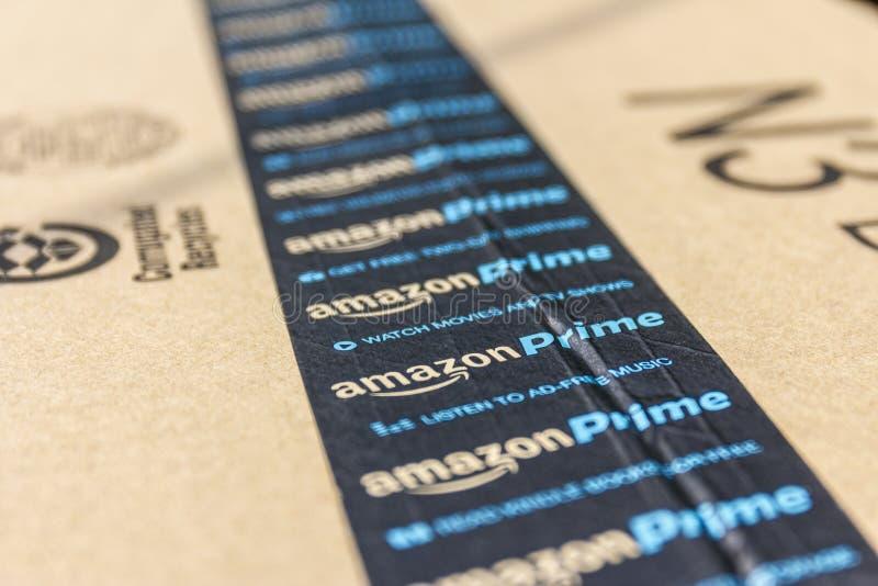 Indianapolis - Circa September 2016: Amazon Prime Parcel Package. Amazon. com is a premier online retailer III stock photo
