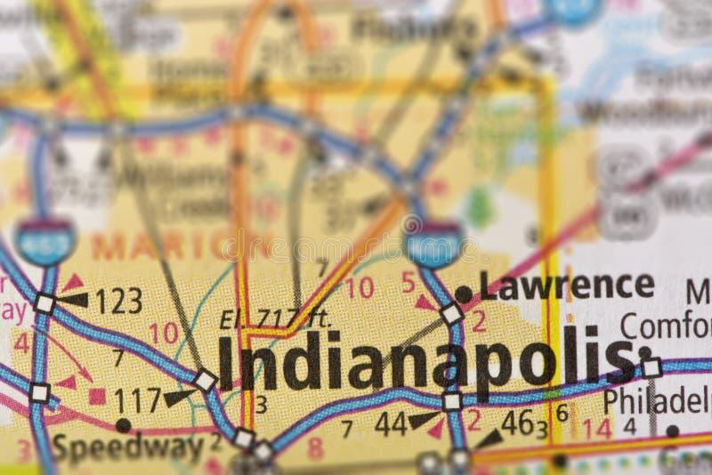 Indianapolis, Indiana auf Karte lizenzfreies stockfoto