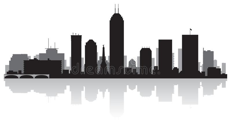 Indianapolis Indiana city skyline silhouette stock illustration