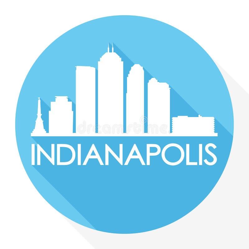 Indianapolis Indiana United States Of America de V.S. om van het de Stadssilhouet van Pictogram Vectorart flat shadow design skyl royalty-vrije illustratie